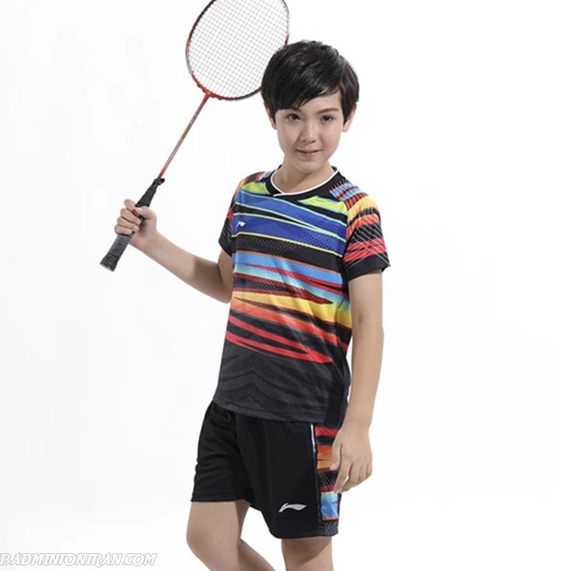 1children li ning badminton shirt table tennis suit boys girls tennis wear sportswear clothes polyester quick drying badminton sets xs بدمینتون ایران