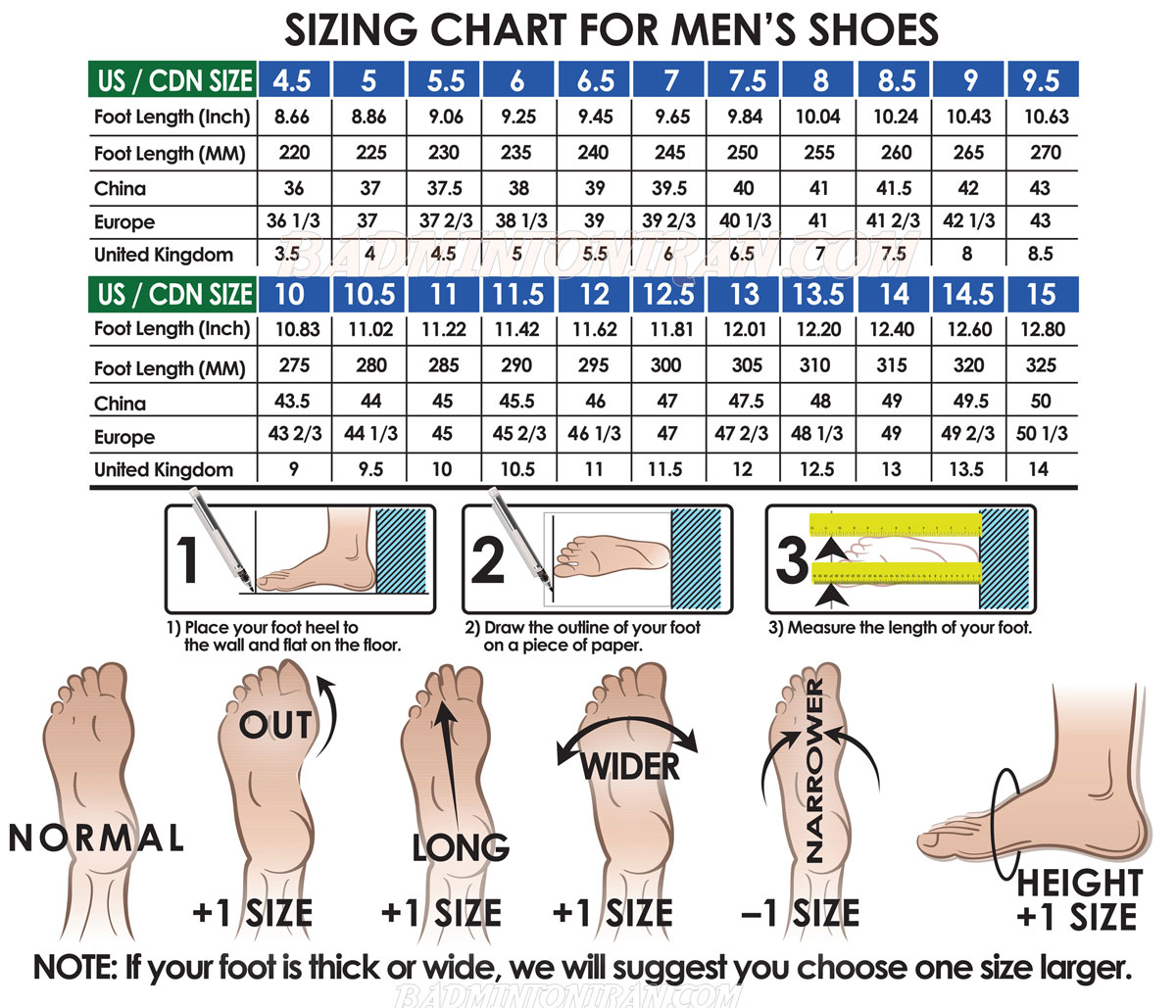 mens badminton shoe size chart 1 بدمینتون ایران